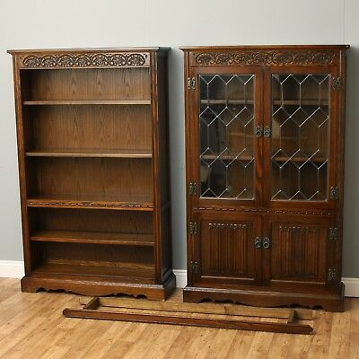 Matching Pair Old Charm Hatfield Bookcase 2161 & Display Cabinet 2159 Tudor Oak