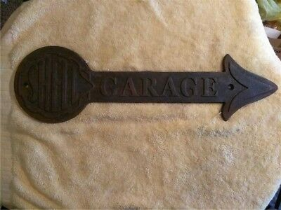 Cast Iron Shell Oil Garage Service Arrow Oil Gas Wall Sign Plaque Raised Letters