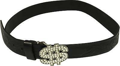 PRE-OWNED Boys Next Black Mix Detailed Leather Belt Size 89cm TH207