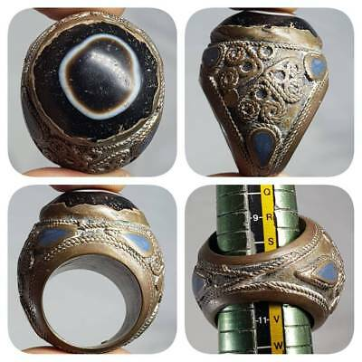 Medieval Ancient Banded Agate Stone Bronze Lovely Ring   # E