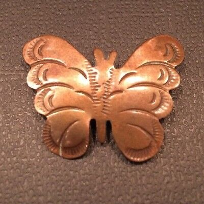 """VINTAGE OLD PAWN NATIVE AMERICAN INDIAN COPPER BUTTERFLY BROOCH PIN Signed """"HB"""""""