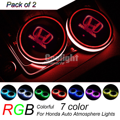 2Pcs RGB LED Car Cup Holder Pad Mat for HONDA Auto Atmosphere Lights 7 Colorful