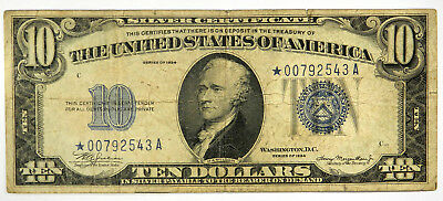 1934 $10 Silver Certificate ~ Star! ~ Vg ~ Priced Right! (Inv#543)