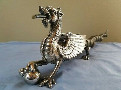 ANTIQUE English SILVER Dragon form lighter 21.5 inches length amazing item