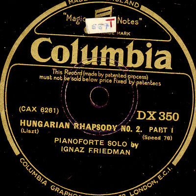 IGNAZ FRIEDMAN -PIANO- Liszt: Hungarian Rhapsody No. 2     78rpm     G3059