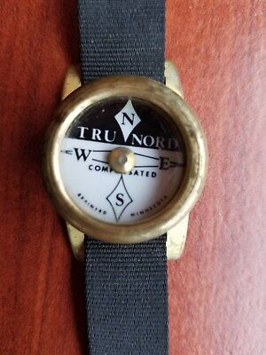 Vintage tru nord brass wrist compass works perfect made in u.s.a.