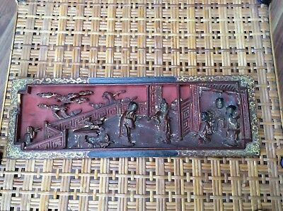 Antique Carved Oriental Wooden Panel Gilt And Lacquered Border Needs Restoration