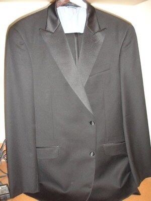 (44L) Tommy Hilfiger Men's Black Wool MOD FIT Flat Front 2 Piece Tuxedo  (36x33)