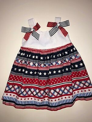 92815366adf5 Baby Girl Red White And Blue Memorial Day Fourth Of July Dress Size 12  Months