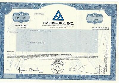 EMPIRE-ORR Inc., New York, 1985  (1.000 Shares )