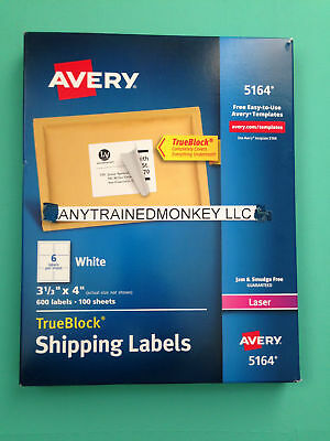 Avery 5164 Laser Shipping Labels 3 1/3 x 4 - 600 Labels 100 Sheets - White - NEW