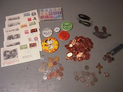 Vintage Junk Drawer Lot Of Silver Coins,gold Ring,stamps,fishing,etc.