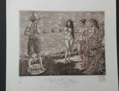 PETER KOCAK judgement of Paris EROTIC EXLIBRIS bookplate