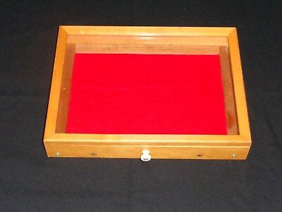 Handmade Display Case Pull Out RedFelt Drawer With Glass Top