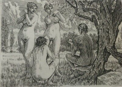 ANTONIN ODEHNAL Judgement of Paris EROTIC EXLIBRIS bookplate