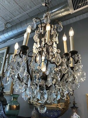 Antique Bronze Top Quality Cut Crystal 11 Light Entry Dining Room Chandelier