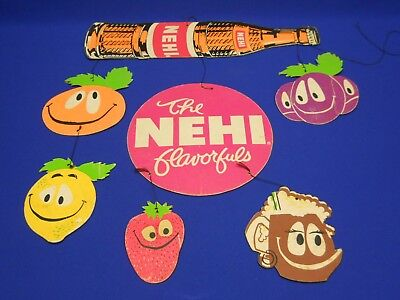 "Vintage NEHI Cardboard Hanging Mobile Soda Sign 21""x23"" Nice Bright Colors"
