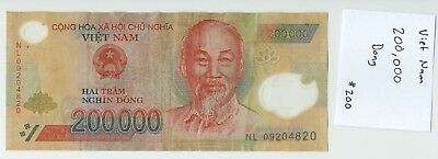 200,000 VIETNAM DONG (Two Hundred Thousand) Bank Note Polymer