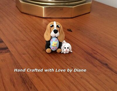 Miniature Hand Crafted Polymer Clay Basset Hound Easter Figurine