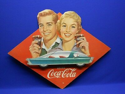 "Vintage 1957 Coca Cola 3D Cardboard Litho Sign with Futuristic Car 26.5""x 20.5"""