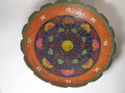 Unique Antique Indian Hand Crafted Hand Painted Engraved BRASS  Plate Etched.9'.