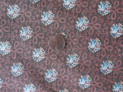 Back In Time Textiles~Amazing!! Antique 1860-70 brown floral fabric 1 yd+