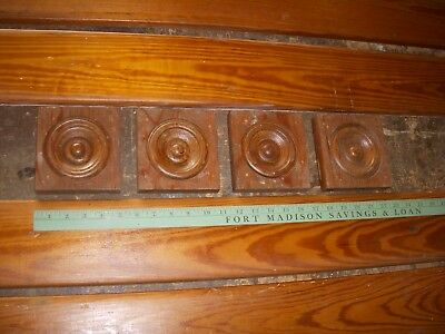 antique pine rosettes/ antique casing woodwork / architectural salvage