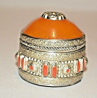 Antique Tibetan agate and white metal pot with hinged lid