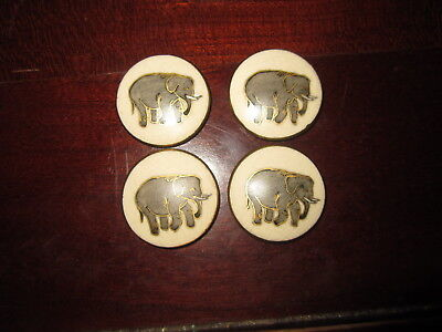 Lot Of 4 Antique Elephant Buttons W/ Flat Back Ceramic Hand Painted  (Satsuma)?