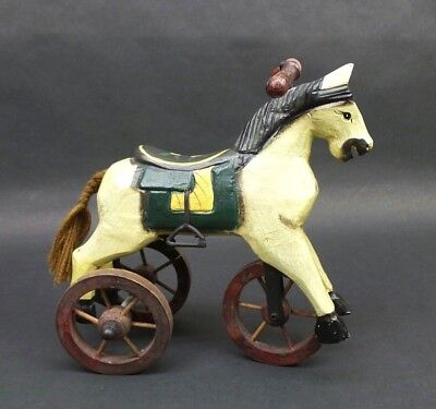 Vintage Wood Horse on Wheels Statue Rocking Horse Tricycle Rustic Country Decor