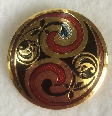 Vintage CELTIC SEA GEMS Cloisonne Gold Tone Brooch Pin