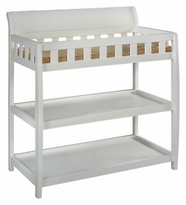 Safe and Stylish Water Resistant Bentley Changing Table w/ Safety Strap, White