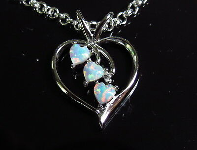 HEART SHAPED WHITE OPAL STIRLING SILVER PENDANT w 18inch STIRLING SILVER CHAIN