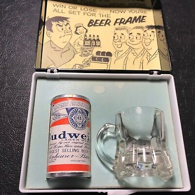 Vintage Budweiser champion beer can frame bowling gift funny & unique empty