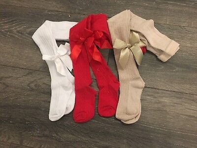 Baby Girls Babies Tights Red Beige Pink White Cable  0-3M 3-6M 6-12M 12-18M Bow