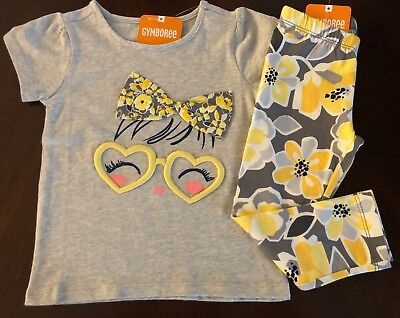 NWT Gymboree Girl Hello Yellow Glasses Tee/Floral Leggings Outfit 18-24 3T 4T