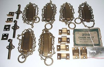 6 Vintage NOS Yale & Towne 2110 chain bolt cast iron AY22 dull brass