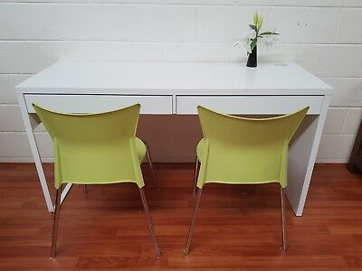Terrific IKEA white long desk with 2 chairs-student home office
