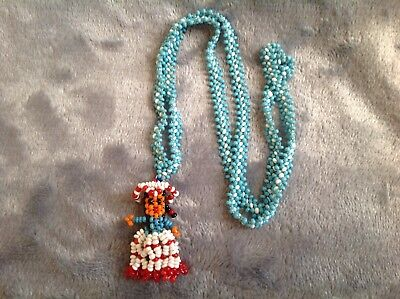 Vintage NATIVE AMERICAN KACHINA SEED BEAD DOLL NECKLACE Woman Girl