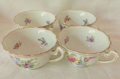 Set Of Four Beautiful Finely Painted Dresden Floral Demitasse Cups, Great Cond