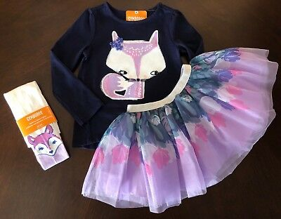 NWT Gymboree Girl Woodland Weekend Fox Tee/TuTu Skirt /Tights Outfit 2T 3T 4T 5T