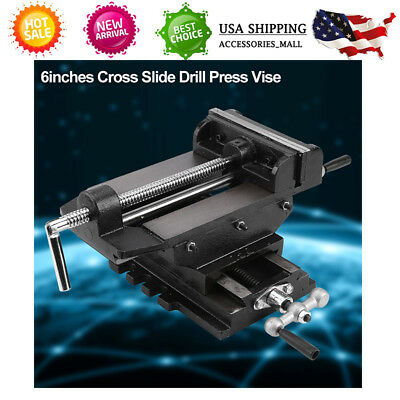 """New 6"""" Cross Slide Drill Press Vise Metal Milling Vice Holder Clamping Bench US"""