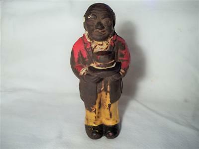 Old Cast Iron Black Americana Butler Uncle Moses Still Coin Money Bank