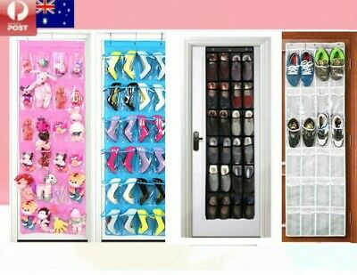 24 Pockets Hanging Shoe Organiser Rack Hanger Cabinet Storage Closet Door Cover