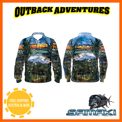 Samaki Saltwater Bara Long Sleeve Fishing Shirt - Adult Size - 3 Xl