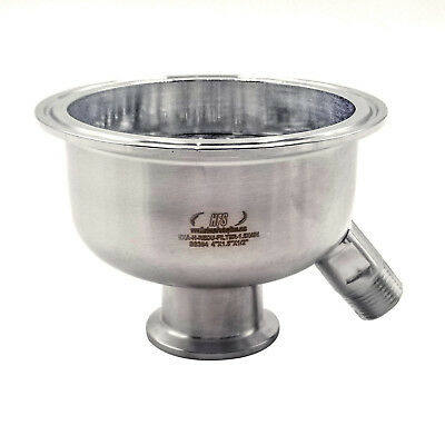 """HFS (R) 304 Stainless Sanitary Reducer 4"""" to 1.5"""" w 6mm Holes Filter (w/male)"""