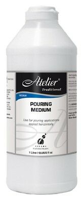 Atelier Traditional POURING MEDIUM 1L + 3 Free Flow Paints - Pouring Puddles