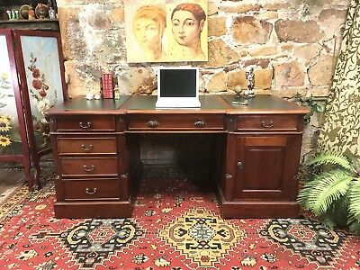 Antique Vintage Style Partners Desk~Drawers~Cabinet~Office