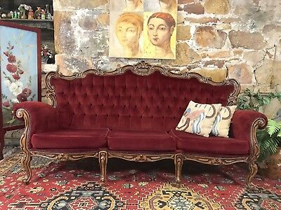 Vintage French Louis Wingback Chesterfield Lounge,Sofa~Chair-Red Velvet