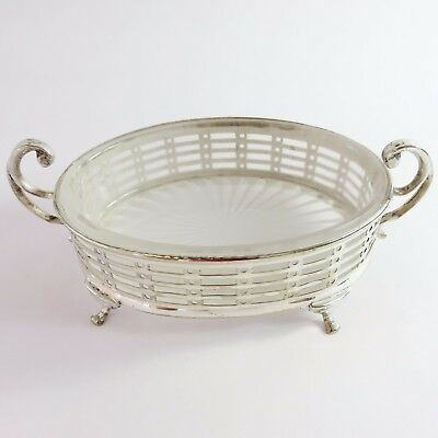 Vintage Silverplate Perforated Butter Serving Dish, Glass Insert